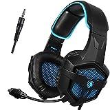 SADES GW sa807PS43,5mm Wired Bass Stereo Geräuschisolierung Gaming Headset Kopfhörer, über Ohr mit Mikrofon Lautstärkeregler Xbox One/PC/MAC/Smartphone/Laptop/Mac/iPad/iPod (schwarz/blau)