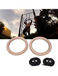 Forfar Ejercicio de madera Fitness Gimnasia Gimnasio Ajustable de Anillos Músculo Crossfit Entrenamiento de fuerza Tirar de Muscle Ups Entretenimiento
