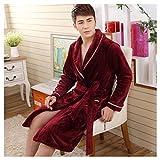 OMFGOD Herren Winter Bademantel dick lang Flanell Wein Rot Schlafanzug Mode Bequem Freizeit Nacht Kleid, Bild, XL