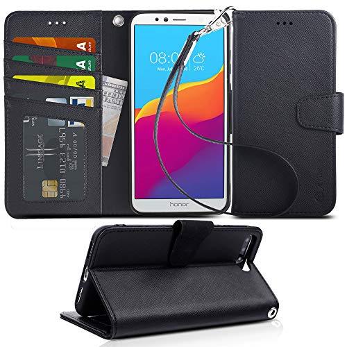 Arae Huawei Y6 2018 Hülle, Handyhülle Huawei Y6 2018 Tasche Leder Flip Cover Brieftasche Etui Schutzhülle für Huawei Y6 2018 - schwarz