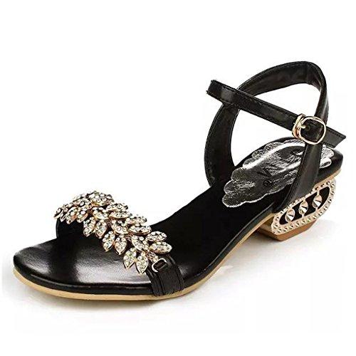 Mine Tom Mujer Elegante Verano Sandalias Diamante De Imitación Sandalias Punta Abierta Zapatos De La Playa Negro 38
