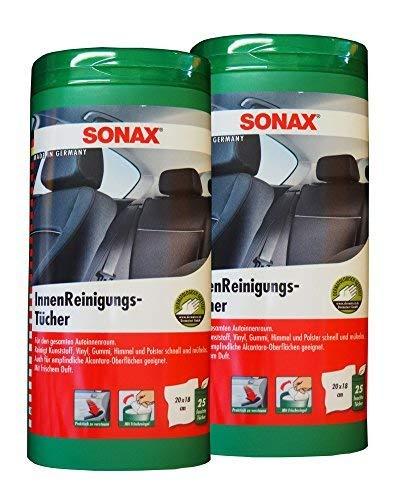Preisjubel 2 x SONAX InnenReinigungs-Tücher, Cockpit-Reiniger, Kunststoff-Pflege, Pflegtuch