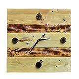 Holz Wanduhr aus Palettenholz shabby chic Upcycling Palettenmöbel Unikat Handarbeit (Natur/Flambiert Horizontal)