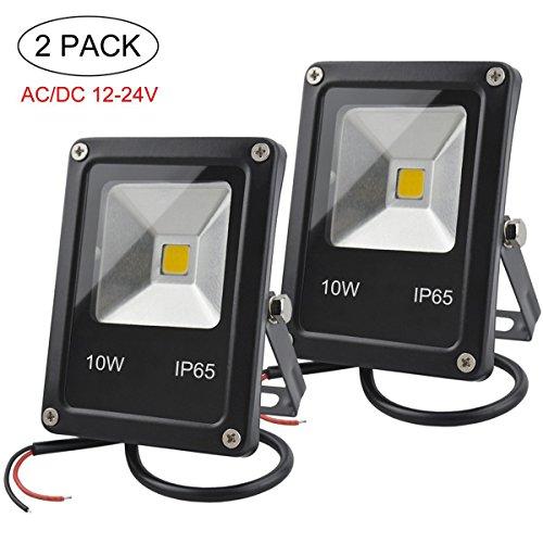 GLW 12V-24V AC/DC LED Flutlicht,10W Mini IP65 im Freien Wasserdichtes Arbeitslicht,900lm,3000K,Warmes Weißes Sicherheitslicht,80W Halogenbirne,2-Teiliger KEIN Stecker
