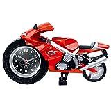 Mode Persönlichkeit Motorrad Form Wecker Nicht Zecke Stille Weckuhr Coole Dekorative Motorrad Wecker Für Wohnzimmer Schlafzimmer Arbeitszimmer Ornamente Studenten Erwachsene Kinder Geschenke (22,5 * 6,5 * 13 cm) ( Color : Rot )