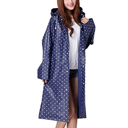 Zhhlaixing Womens Dot Waterproof EVA Hooded Rain Jacket Poncho Raincoat Rainwear Blue