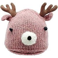 Huhu833 Weihnachten Kleinkind Baby Cartoon Winter Hirschhorn Strickmütze Baby Warm Cap halten