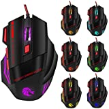 MagiDeal Adjustable 3200 DPI Gaming Wired USB Mouse With 7 Breathing Color Backlight
