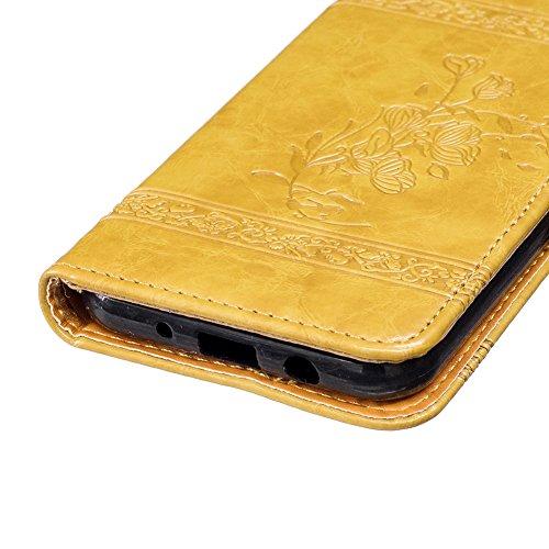 KM-WEN® Schutzhülle für Apple iPhone 7 (4,7 Zoll) Bookstyle Retro Stil Blumen Muster Prägemuster Ledertasche mit Strap Magnetverschluss PU Leder Wallet Case Flip Cover Hülle Tasche Schutzhülle mit Sta Gold