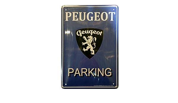 30 x 20 cm Fond Bleu Parking /& Logo Plaque M/étal bomb/ée : Peugeot
