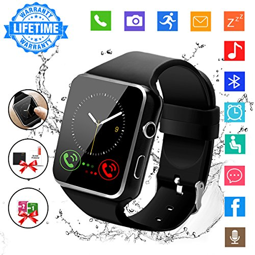 Smart Watch,Bluetooth Smartwatch Touch Screen Wrist Watch with Camera/SIM Card Slot,Waterproof Phone...
