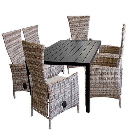 7tlg. Gartengarnitur Aluminium Gartentisch mit schwarzer Polywood Tischplatte 150x90cm + 6x verstellbare Poly Rattansessel Nature Sitzgruppe Sitzgarnitur Balkonmöbel Terrassenmöbel Set