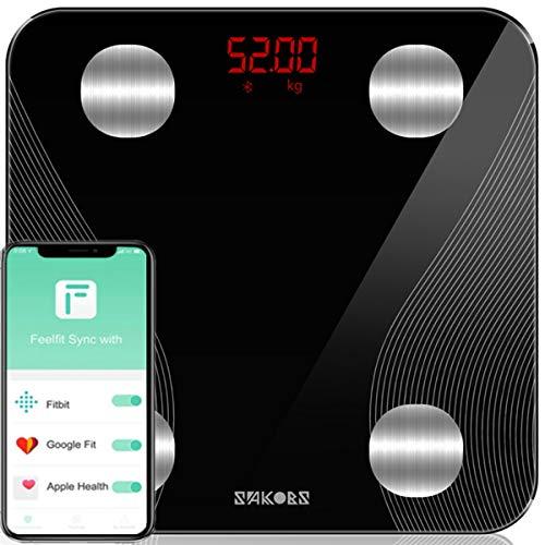 SAKOBS Waage mit Körperfett Personenwaage Testsieger Bluetooth Körperwaage für Fitness&Diät, Digitale Körperfettwaage mit App für BMI, Gewicht, Protein, Skelettmuskel, Muskelmasse, BMR, Wasser,Schwarz