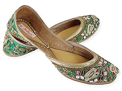 Fulkari Womens Genuine Soft Leather Green Sparrow Embroidered Comfortable Formal Wear Jutis Ethnic Flat Shoes 36