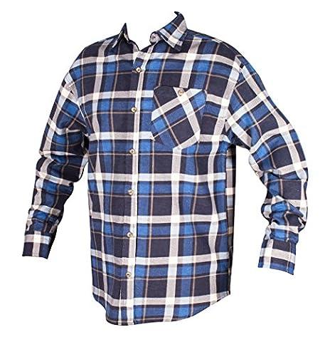 Men's Big Size Cotton Tartan Check Collared L/S Flannel Button-Down