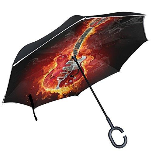 Alaza Gitarre Fire Flammen Musik schwarz Hintergrund seitenverkehrt Regenschirm Double Layer Winddichte Rückseite Faltbarer Regenschirm für Auto mit C-förmigem Henkel -