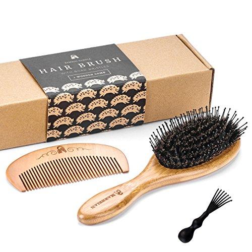 Cepillo para el pelo de bambú y cerdas de jabalí con alfileres para...