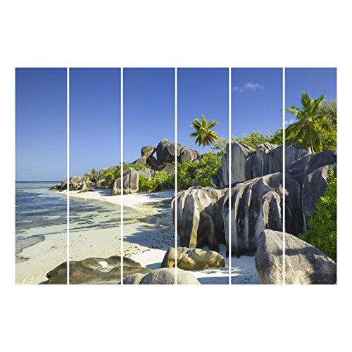 Bilderwelten Schiebegardinen Set - Traumstrand Seychellen - 6 Flächenvorhänge, Aufhängungssystem:...