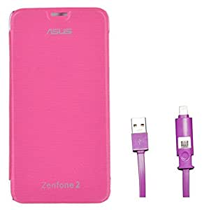 Chevron Flip Cover Case with 2 In 1 Data Cable (Micro USB & Lighting) for Asus Zenfone 2 ZE551ML
