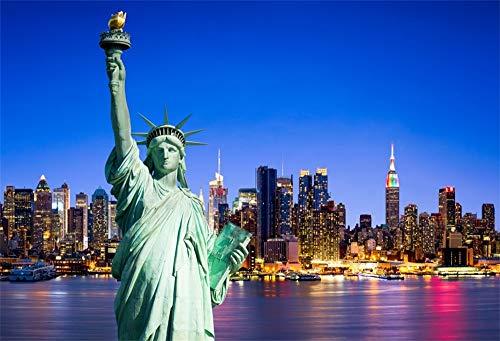 YongFoto 3x2m Vinyl Foto Hintergrund New York City Skyline Mit Freiheitsstatue Die Freiheitsstatue Fotografie Hintergrund Fotostudio Hintergründe Requisiten