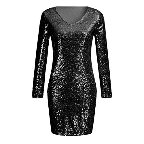 JMETRIC Damenmode Pailletten V-Ausschnitt Mini Langarm Kleid(Schwarz,M)