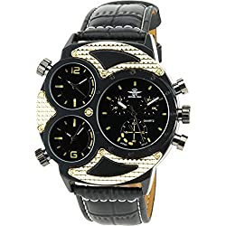 Men's Watch MICHAEL JOHN BLACK GOLD  Quartz STEEL Analogue Display Elegant Sport Fashion triple time zone Band  BLACK FAUX LEATHER