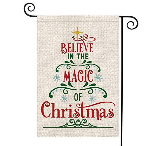 AVOIN Believe in The Magic of Christmas Gartenflagge, vertikal, Doppelgröße, Winter, Urlaub, Jute, Gartendekoration, 31,8 x 45,7 cm Garden Size-12.5 x 18 grün