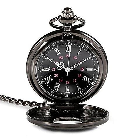 tenflyer New Rétro Classique Montre de poche antique collier pendentif montre à quartz Punk Vapeur