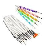 Coscelia Profi Nageldesignset Maniküre Werkzeug 15 teilig Pinselset Stifte Brush+ 5er Dotting Pens Pinsel Dotting Tool