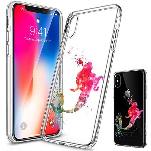 Girlscases® | iPhone XS Hülle, iPhone X / 10 Hülle | Im Meerjungfrau Motiv Muster | in bunt | Fashion Case transparente Schutzhülle aus Silikon