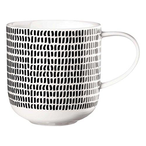 ASA 19115014 Henkelbecher/Kaffeebecher/Becher - COPPA - Porzellan - schwarz/weiß - Ø 9,2 cm -...