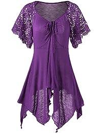 98286e6b6fa4 Guiran Donna Vestiti Eleganti Casuale Irregolare Lace Up V Collare Manica  Corta Elegante Abiti da Cerimonia