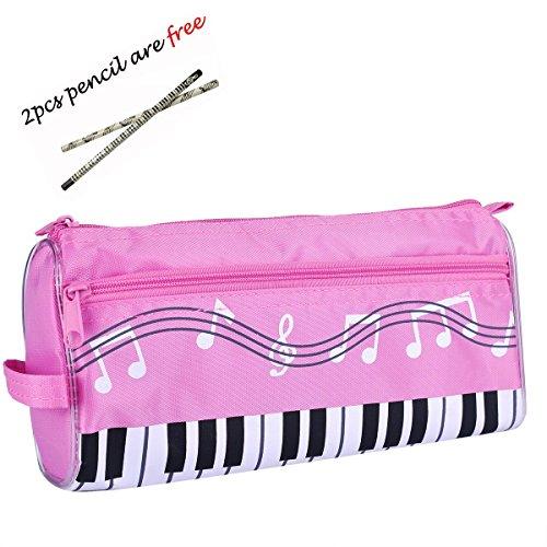 chubby-trousse-crayons-avec-double-fermeture-clair-et-motif-notes-de-musique-2-crayons-gratuits-rose