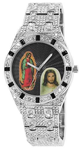 King Star Unisex-Uhr Strass Heiligenbild Bling Bling Analog Quarz 2800055 (silberfarbig/Maria Jesus)
