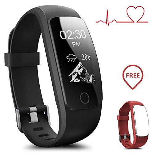 Podometre Bracelet Non Connecté,Gps Trackers D'activité Montre Cardiofréquencemètre,Bluetooth 4.0 Smartwatch Sport Cardio Imperméable Ip67 Podomètre /contrôle De La Musique/ Alarme/calories/tracker Sommeil/notification For Ios Android (sangle de remplacement)