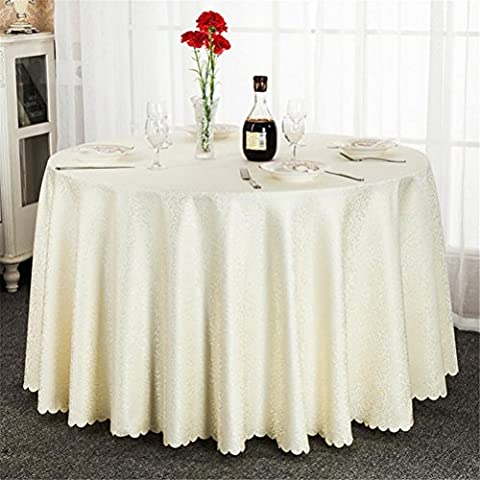 Polyester Wedding Tablecloth Jacquard Red Round Table Cloth Hotel Dining Table Cover Decor Solid Table Linen , meters white , round