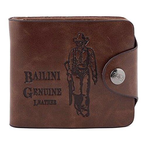 Herren Geldbörse Portemonnaie Geldbeutel Leder-Bifold Wallet für Männer Vintage braun (Einfache Wallet Bi-fold)