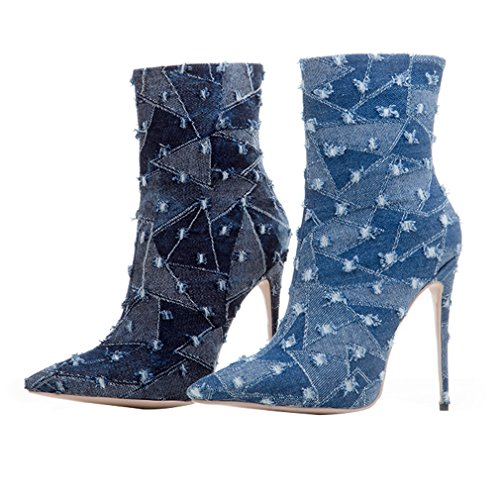 clair Dress Western sexy Style talons Femmes Pointed Stiletto Party Toe Zipper Chaussures Shoes 97 Bleu hauts à ENMAYER gwaUqq