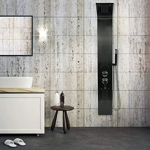 Duschpaneel Edelstahl mit Massagendüsen,Regendusche,Handbrause,Wasserfall Duschsäule (Schwarzer Edelstahl)