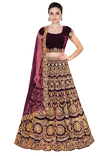 Wine color machine embroidery lehenga choli with mirror work.