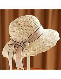 Yeying123 Mujeres algodón Punto Cap Verano Sol Playa Paja Sombrero UPF50  Plegable Ancho Brim Cinta Tapa b9a643a29570