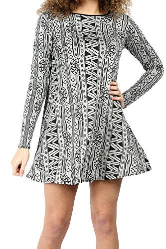Damen Langärmelig Bedruckt Sommer Dehnbar Ausgestellt Skater Top Mini Swing Kleid Leopard Creme