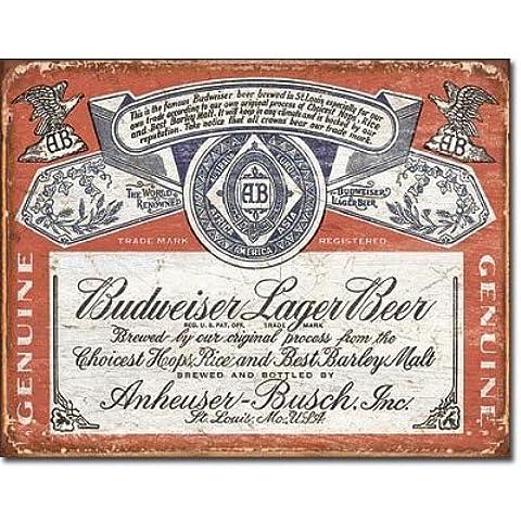 Budweiser Historic etichetta in latta Vintage Retro effetto arte povera, motivo: _32 x 41 cm