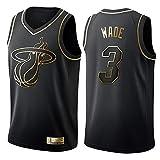NBA Miami Heat 3# Wade Maglia da Basket per Uomo Jersey, Nuovo Tessuto Ricamato Camicia T-Shirt Sportive Swingman
