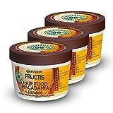 Garnier Fructis Hair Food Macadamia Maschera Disciplinante 3 in 1 con Formula Vegana per Capelli Difficili da Lisciare, 390 ml, Confezione da 3