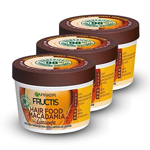 Scheda dettagliata Garnier Fructis Hair Food Macadamia Maschera Disciplinante 3 in 1 con Formula Vegana per Capelli Difficili da Lisciare, 390 ml