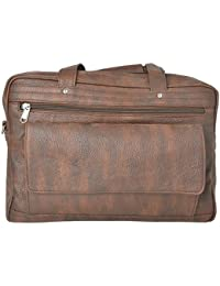 R.K. Leather Point Brown Synthetic Leather Laptop Bag