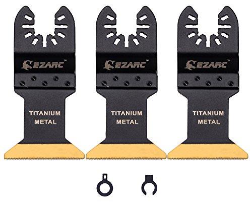 EZARC 3 tlg Bi-Metall Titan Oszillierende Klinge Sägeblätter Multi-Tool Klingen für Holz, Metall und Hartes Material