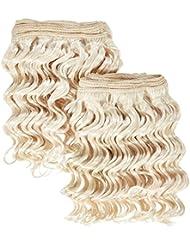 Extension de cheveux humains chear Deep Wave 2en 1trame de tissage mélange blond clair Numéro 613, 20cm