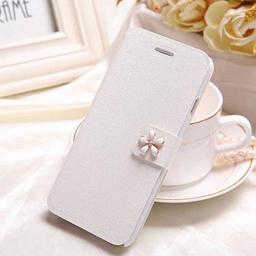 PU Ledertasche Schutzhülle Flip einzigartig und besonders smart case mit Standfunktion wie wallet Tasche kann Karte einlegen (iphone 4/4s, Weiß)